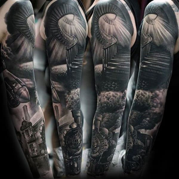 Train With Stairway To Heaven Guys Unique Shaded Sleeve Tattoos