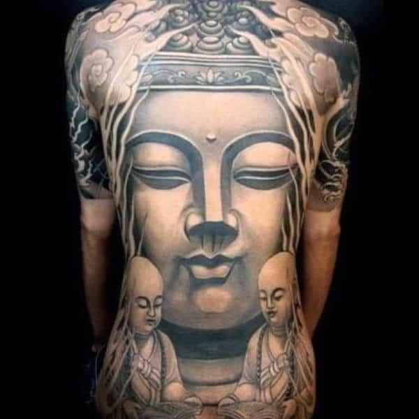 Tranquil Buddha Meditating Tattoo On Full Back For Men