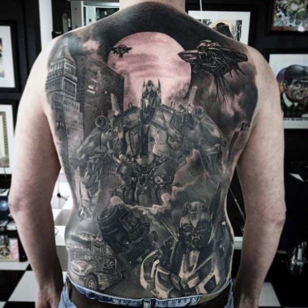 Transformers Themed Male 3d Shaed Tattoo Design On Back