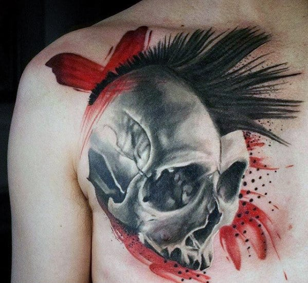 Trash Pola Black And Red Ink 3d Skull Chest Upper Chest Tattoo