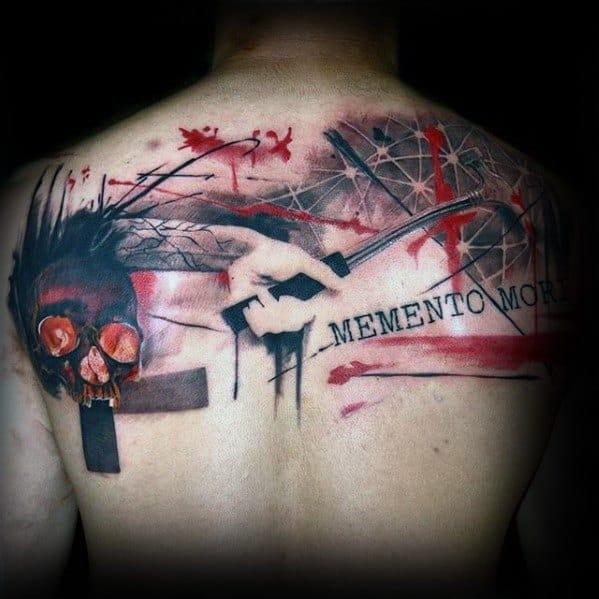 Trash Polka Artsy Mens Memento Mori Skull Upper Back Tattoo