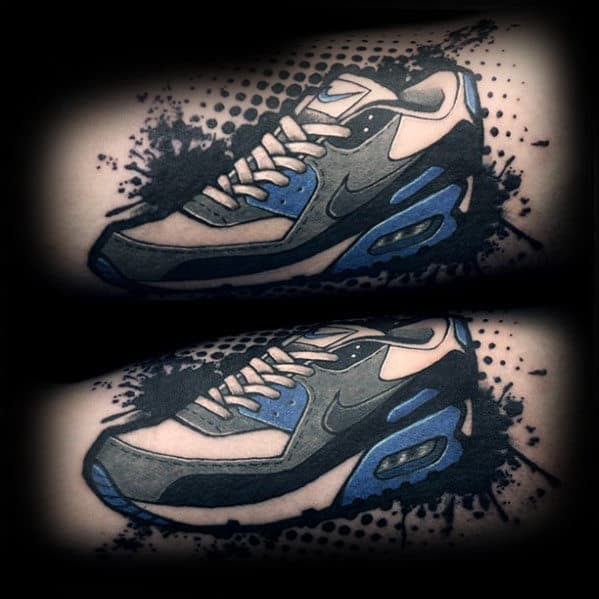 Trash Polka Black And Blue Guys Nike Shoe Tattoos On Arm
