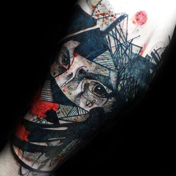 Trash Polka Face Mens Arm Tattoos