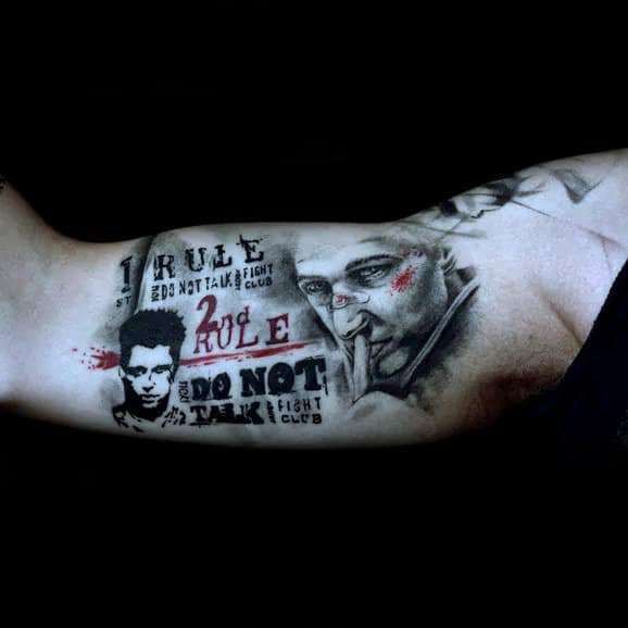 Trash Polka Fight Club Arm Tattoo For Guys