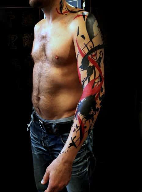 Trash Polka Guys Creative Full Arm Tattoo With Red And Black Ink