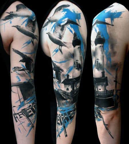 Colored Sleeve Tattoo Of Birds: 40 Seagull Tattoo Designs For Men