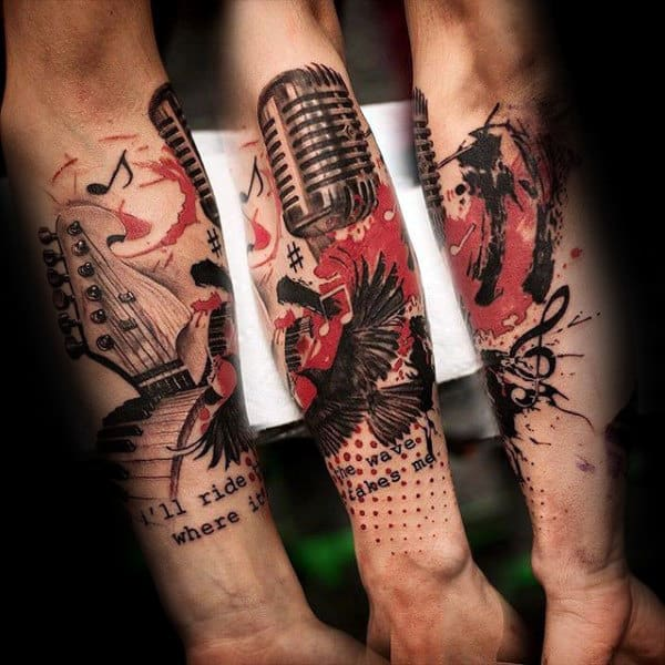 Trash Polka Music Note Microphone Mens Forearm Tattoos
