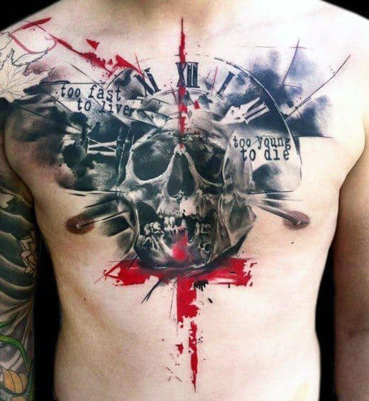 Trash Polka Upper Chest Guys Watercolor Skull Tattoo Designs