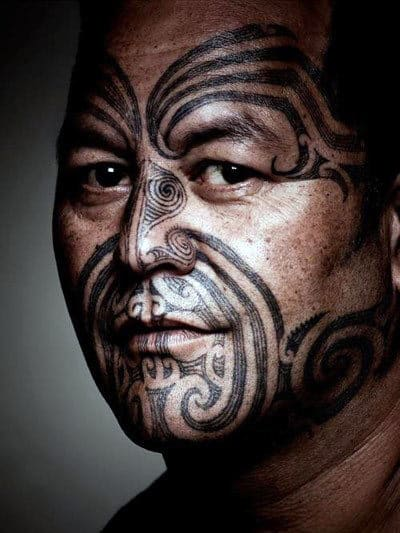 Trational Tribal Mens Pattern Face Tattoos