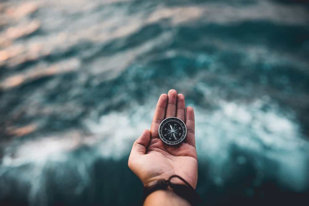 travel compass on traveler hand
