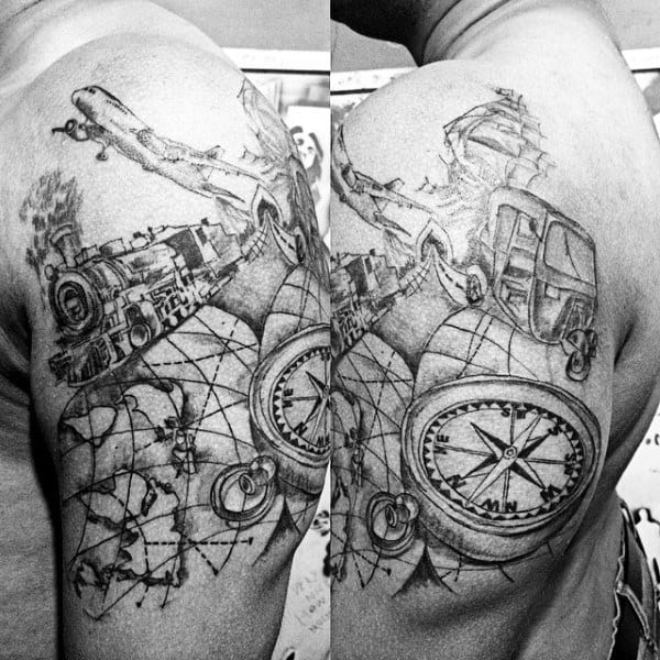 Travel Themed Mens Uper Arm Tattoo Design With Train Map Compass And Airplane