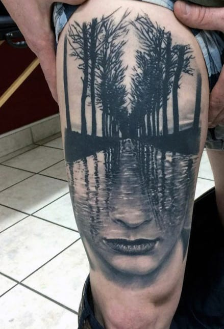 Top 80 best abstract tattoos for men artistic designs for Thigh tattoo designs for men