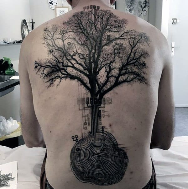 Tree Artistic Mens Back Tattoos