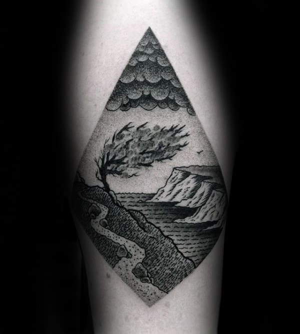 Tree Blowing In The Mind Landscape Diamond Male Tattoo Designs