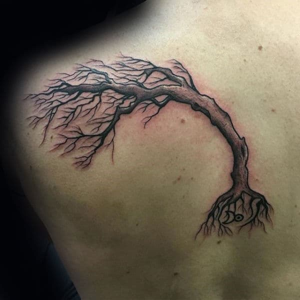 Tree Blowing In The Wind Back Tattoo For Guys