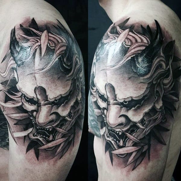 Tree Branch Mens Hannya Mask Shaded Upper Arm Tattoo