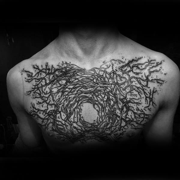 Tree Branches Insane Male Chest Tattoos
