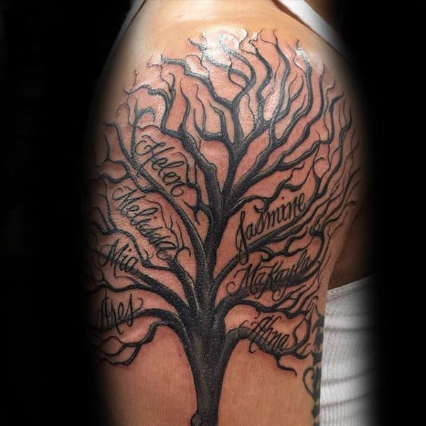 60 family tree tattoo designs for men kinship ink ideas. Black Bedroom Furniture Sets. Home Design Ideas