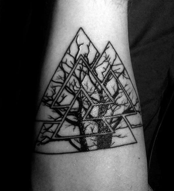 Tree Branches Valknut Male Outer Forearm Tattoos