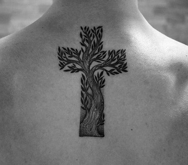 Tree Cross Simple Christian Male Upper Back Tattoos
