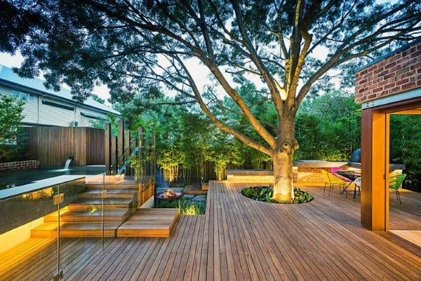Tree Cut Out Circle Backyard Deck And Patio Ideas
