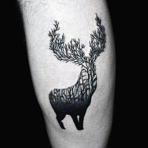 Tree Elk Antler Tattoo Small Guys Tattoo On Back Of Forearm