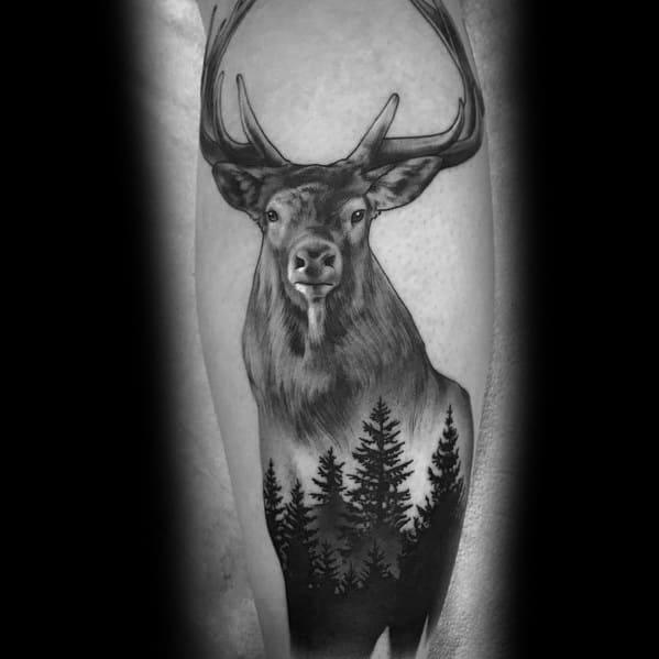 Tree Elk Mens Leg Tattoo Design Inspiration