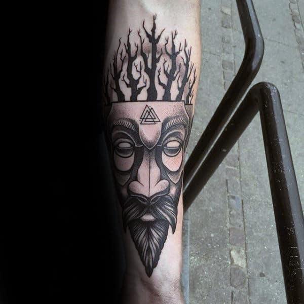 Tree Face Valknut Mens Inner Forearm Tattoo Designs