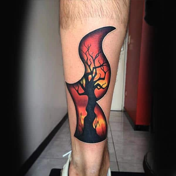 Tree Fire Mens 3d Leg Tattoo Designs