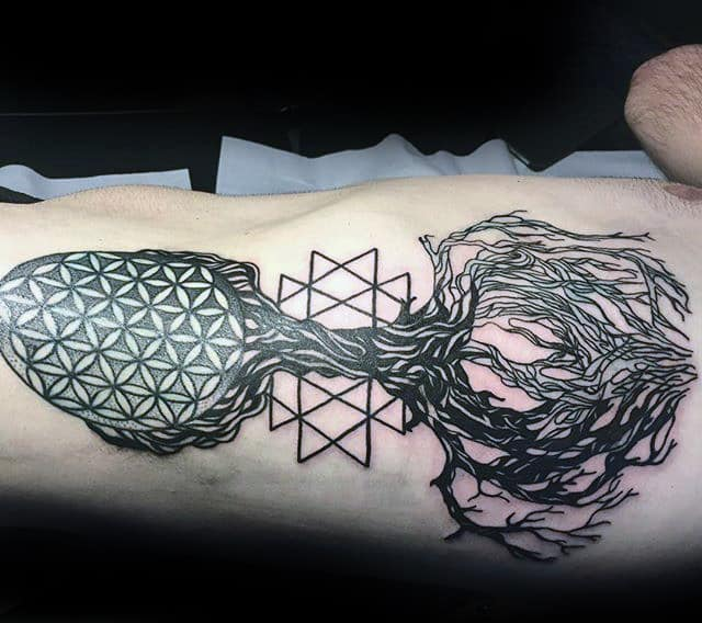 Tree Flower Of Life Mens Rib Cage Side Tattoos