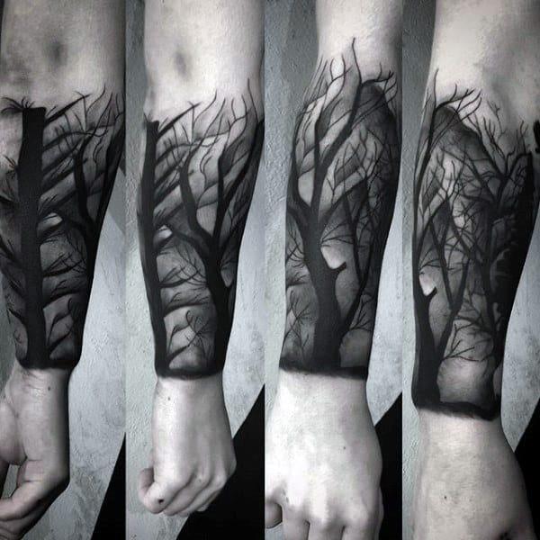 Tree Forearm Sleeve Insane Shaded Guys Tattoos