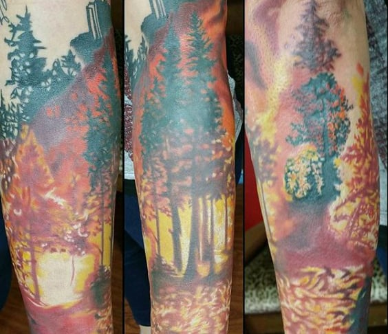 Tree Forest Fire Mens Sleeve Tattoos