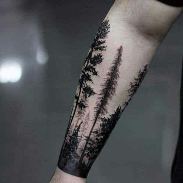 Tree Forest Inner Forearms Tattoo For Men