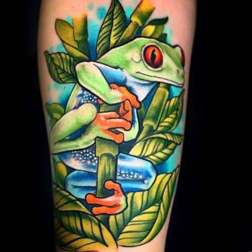 Tree Frog Male Tattoo Designs Leg