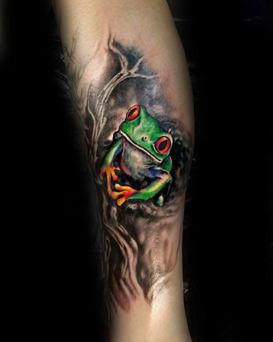 Tree Frog Male Tattoo Ideas Leg