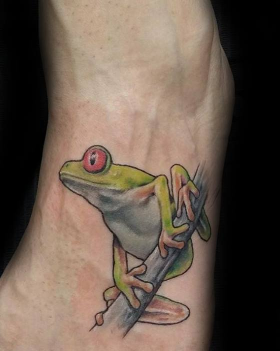 Tree Frog Male Tattoos Foot