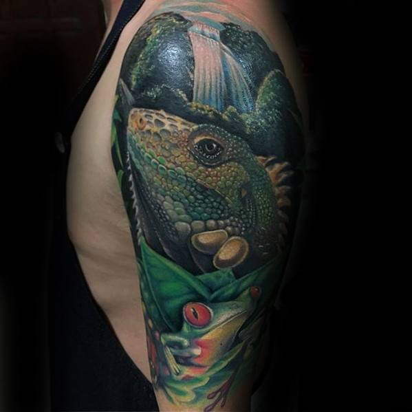 Tree Frog Mens Tattoo Designs Half Sleeve