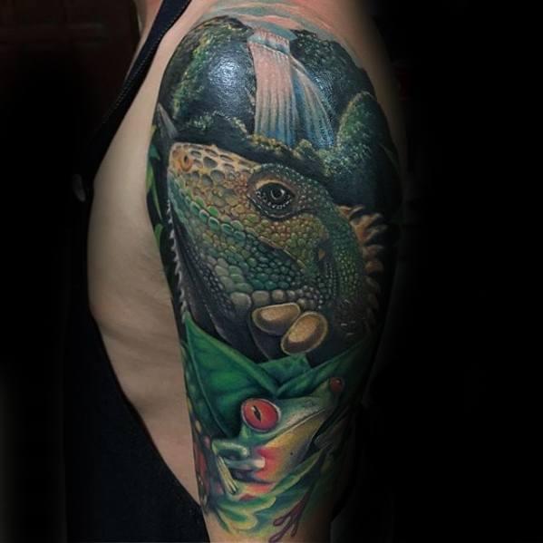 Tree Frog Mens Tattoo Designs Half Sleeve