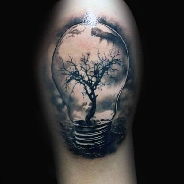 Tree Growing Inside Glass Light Bulb Mens Upper Arm Tattoo