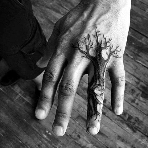 Tree Guys Finger Hand Small Tattoos