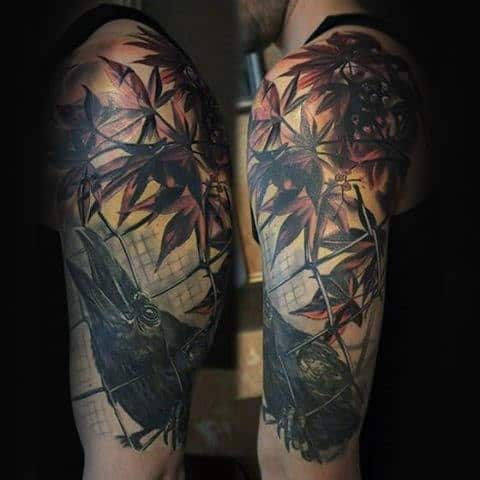 Tree Leaves Fence Mens Crow Half Sleeve Tattoos