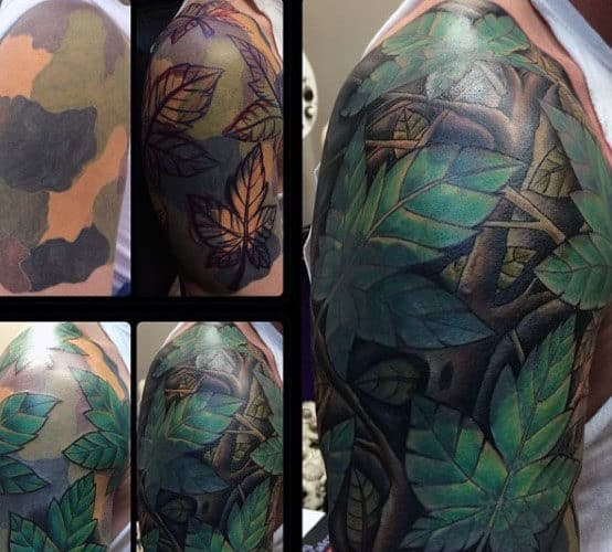 Tree Leaves Half Sleeve Mens Camouflage Tattoo Ideas