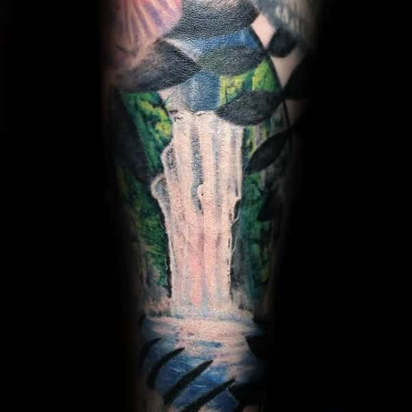 Tree Leaves Waterfall Mens Sleeve Arm Tattoos