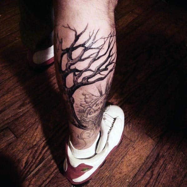 Tree Leg Calf Tombstone Tattoos For Men In Black Ink