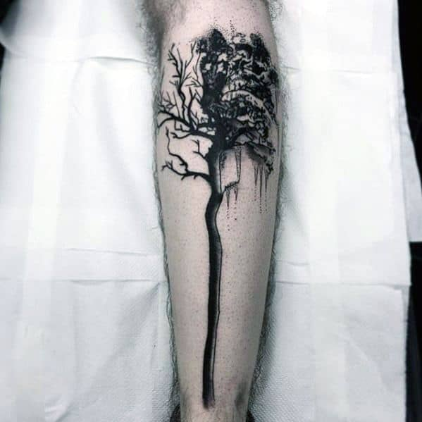 Tree Leg Tattoos For Men