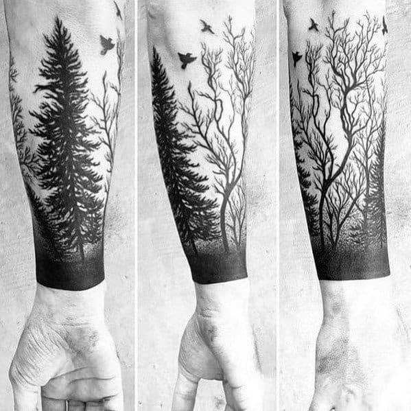 Tree Line Tattoo Designs For Gentlemen