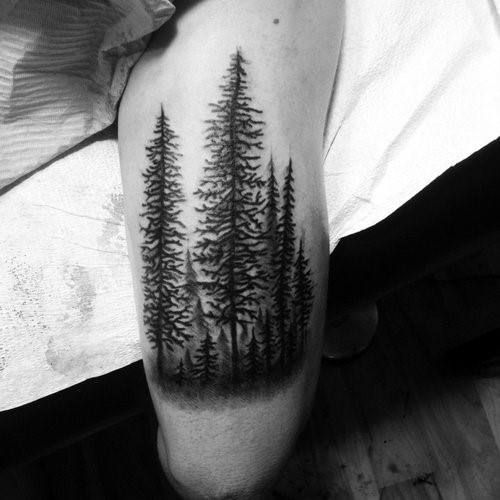 Tree Line Themed Tattoo Ideas For Men