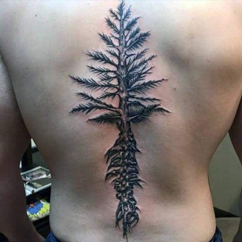 Tree Nature Spine Tattoos For Guys