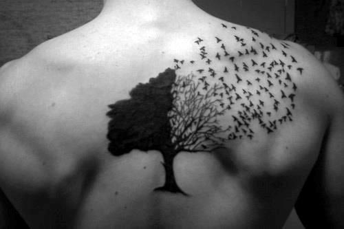 Tree Of Life Birds Flying Mens Black Ink Upper Back Tattoo Design Inspiration