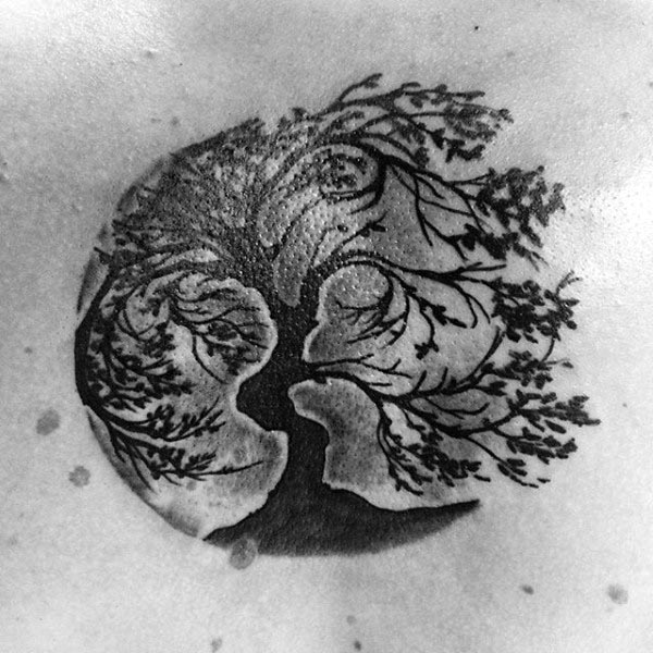 Tree Of Life Blowing In The Wind Shaded Mens Chest Tattoos